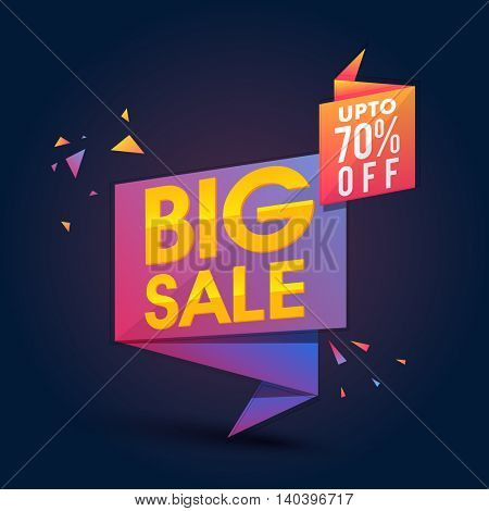 Creative Glossy Paper Tag or Banner design of Big Sale with Upto 70% Off on blue background.