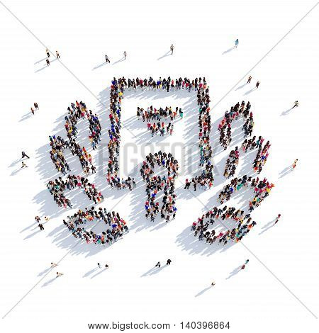 Large and creative group of people gathered together in the shape of reward. 3D illustration, isolated against a white background. 3D-rendering.