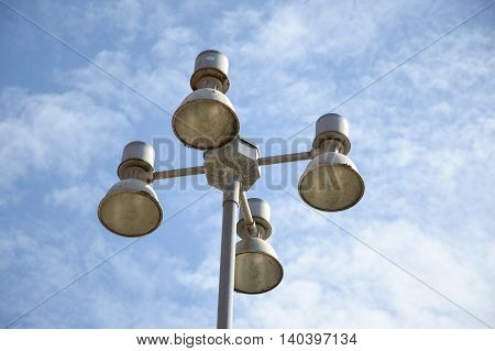 close up lamp post on blue sky