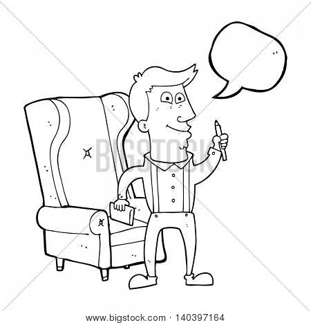 freehand drawn speech bubble cartoon man with notebook and pen