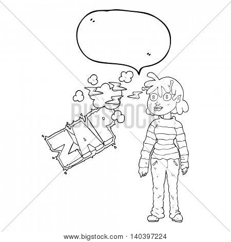 freehand drawn speech bubble cartoon casual alien girl using telepathy