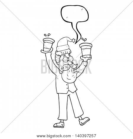 freehand drawn speech bubble cartoon man with coffee cups at christmas