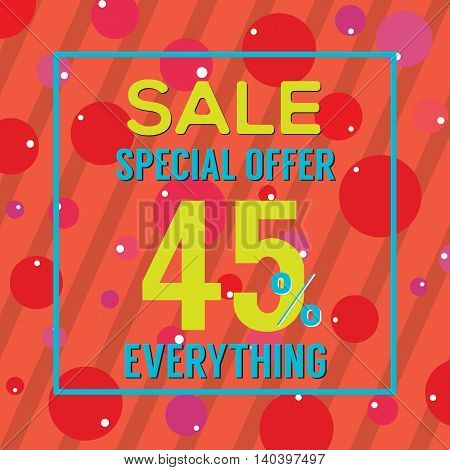 Special Offer 45 Percent On Colorful Red Bubbles And Stripes Vector Illustration. EPS 10
