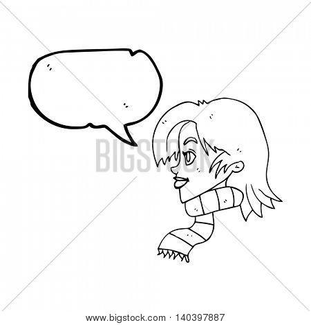freehand drawn speech bubble cartoon woman wearing scarf