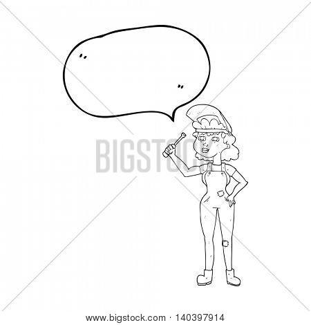 freehand drawn speech bubble cartoon female mechanic