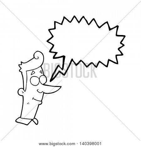 freehand drawn speech bubble cartoon smiling man