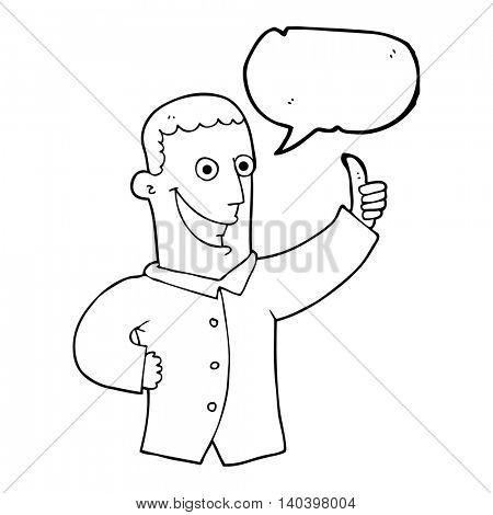 freehand drawn speech bubble cartoon man giving approval