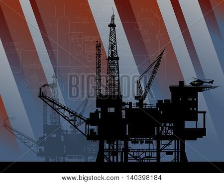 Oil rig in sea abstract background, vector illustration