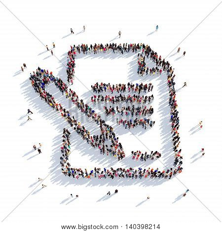 Large and creative group of people gathered together in the shape of a document, a letter. 3D illustration, isolated against a white background. 3D-rendering.