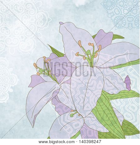 Lily on blue grunge background vector eps 10