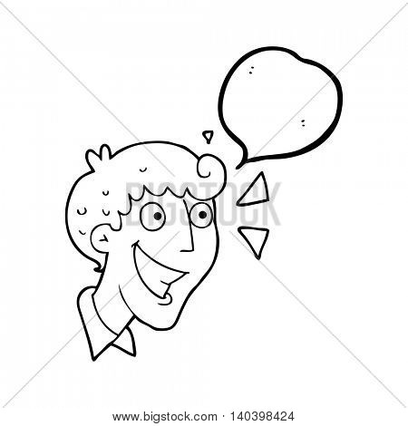 freehand drawn speech bubble cartoon excited man