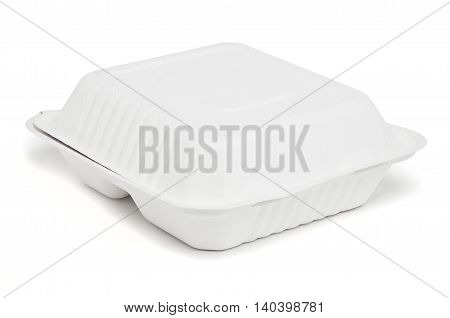 a small biodegradable food container with white background