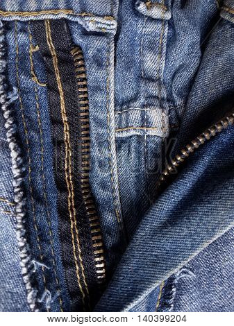 close up zipper shame on jean textile