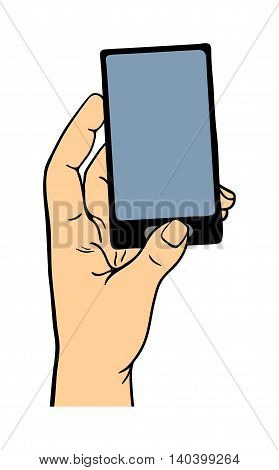 Human hand holding bank card pose signal human fingers. Human hand isolated. Silhouette of hand showing symbols finger thumb vector illustration. Phone, talk, smart phone.