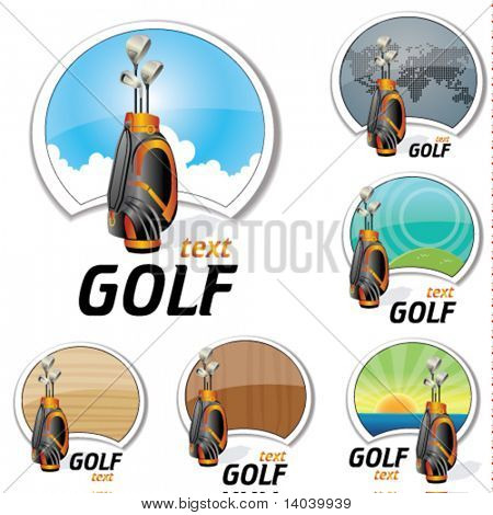 set of golf signs