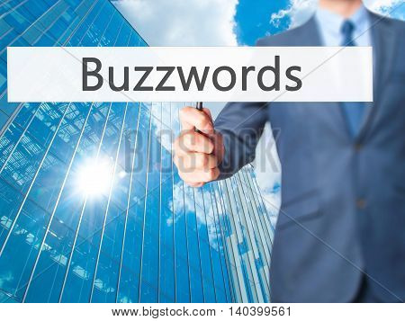 Buzzwords - Business Man Showing Sign