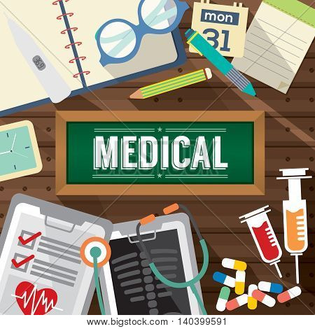 Top View Of Medicine Tablets Hypodermic Syringe And Diagnosis Paper Medical Concept Vector Illustration.