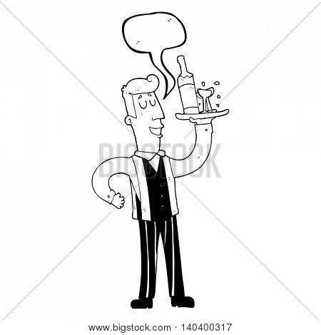 freehand drawn speech bubble cartoon waiter