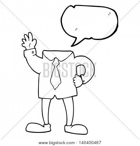 freehand drawn speech bubble cartoon headless businessman