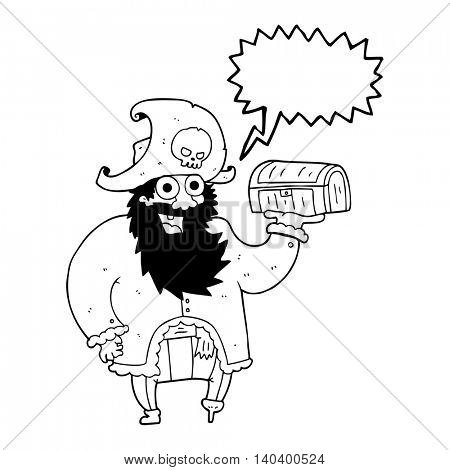 freehand drawn speech bubble cartoon pirate captain with treasure chest