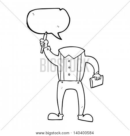 freehand drawn speech bubble cartoon headless body with notepad and pen (add own photos)