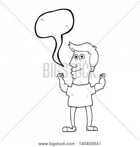 freehand drawn speech bubble cartoon celebrating man