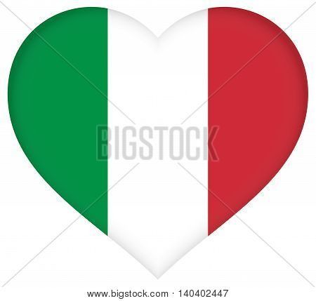 Illustration of the national flag of Italy shaped like a heart.