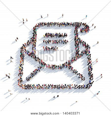 Large and creative group of people gathered together in the shape of a letter. 3D illustration, isolated against a white background. 3D-rendering.