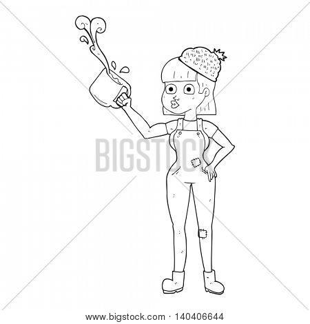 freehand drawn black and white cartoon female worker with coffee mug
