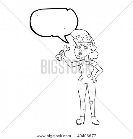 freehand drawn speech bubble cartoon woman with spanner