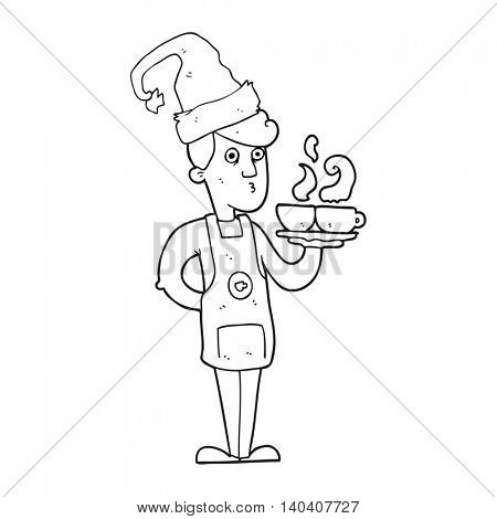 freehand drawn black and white cartoon barista serving coffee at christmas