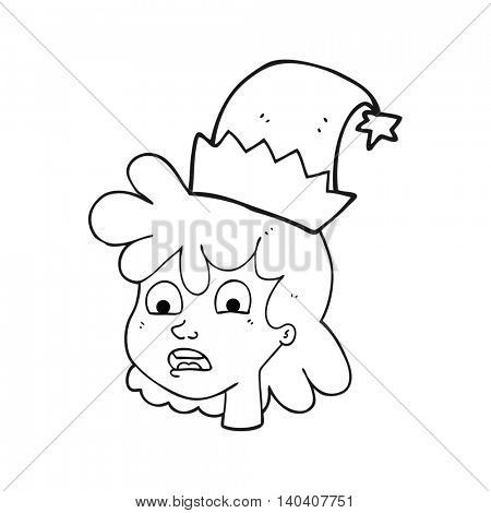 freehand drawn black and white cartoon stressed woman wearing santa hat