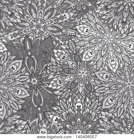 Seamless mandala pattern for printing on fabric or paper. Hand drawn background. Islam Arabic Indian ottoman motifs.