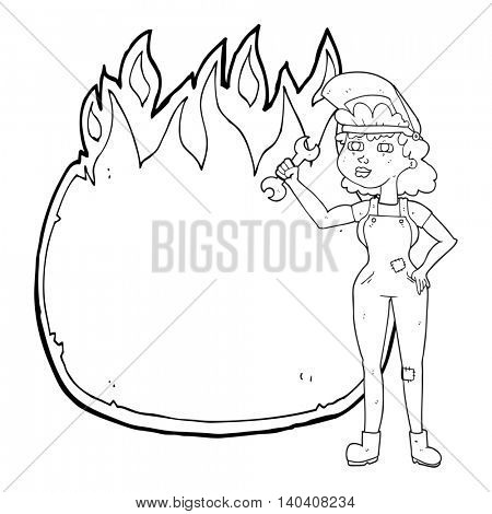 freehand drawn black and white cartoon woman with spanner
