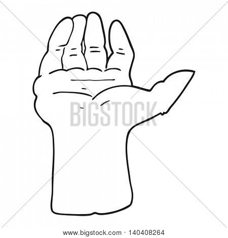 freehand drawn black and white cartoon open hand