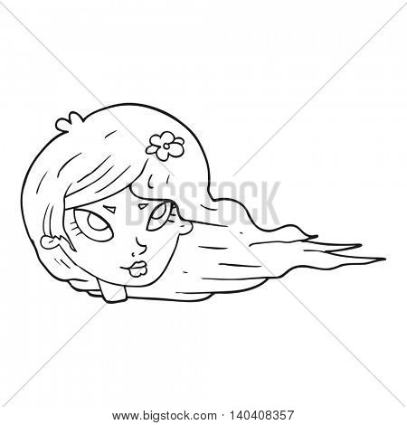 freehand drawn black and white cartoon woman with blowing hair