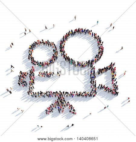 Large and creative group of people gathered together in the shape of camera, film. 3D illustration, isolated against a white background. 3D-rendering.