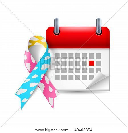 Cloud awareness ribbon and calendar with marked day. Congenital diaphragmatic hernia symbol