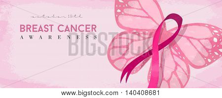 Breast Cancer Awareness Banner With Pink Butterfly