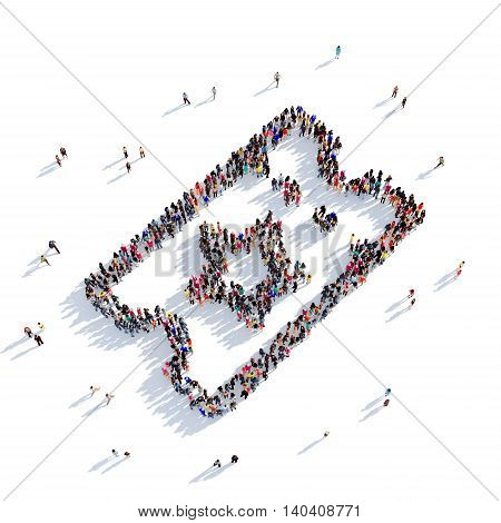 Large and creative group of people gathered together in the shape of a movie ticket. 3D illustration, isolated against a white background. 3D-rendering.