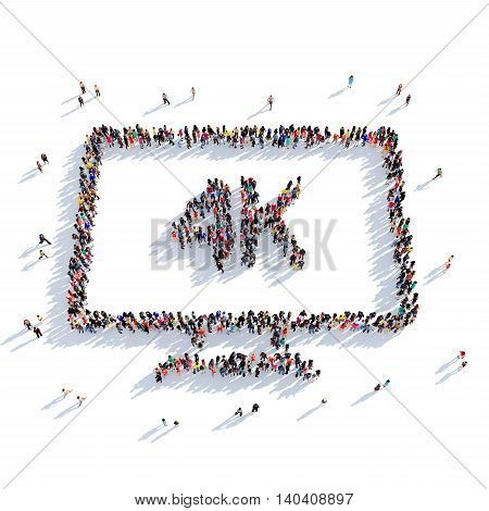 Large and creative group of people gathered together in the shape of a TV 4k, cinema. 3D illustration, isolated against a white background. 3D-rendering.