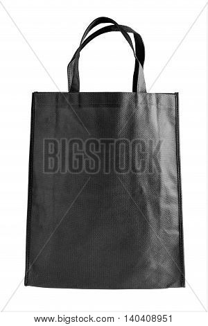 Black tote bag isolated on white background