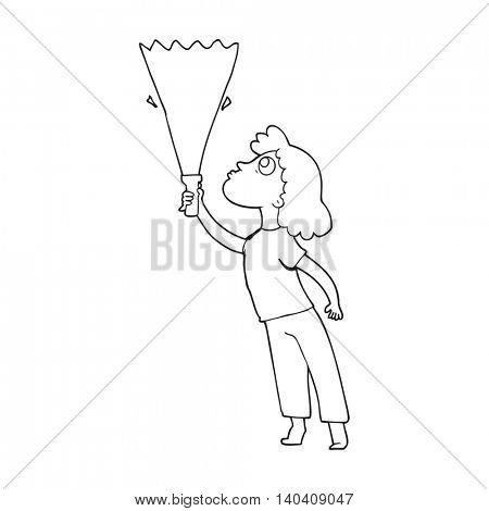 freehand drawn black and white cartoon woman searching with torch
