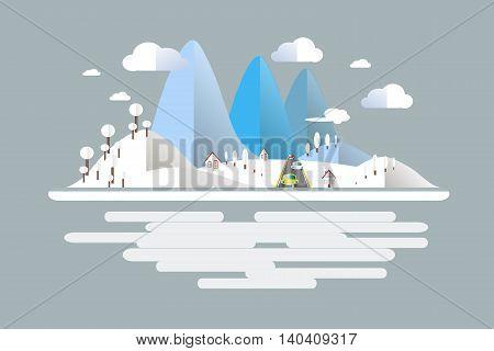 Winter time, blue, white mountain landscape, cars on the road. Modern flat design, design element, vector