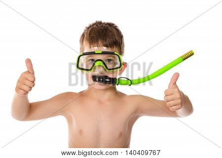 Smiling boy in diving mask with thumb up sign, isolated on white