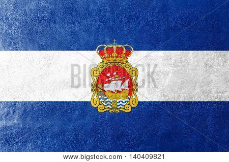 Flag Of Aviles, Spain, Painted On Leather Texture