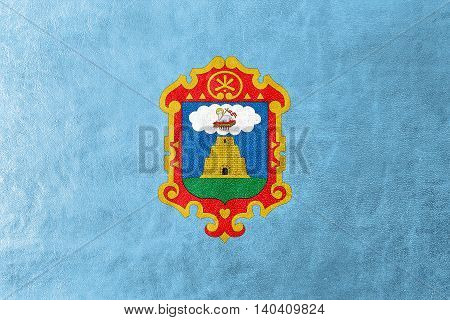 Flag Of Ayacucho, Peru, Painted On Leather Texture