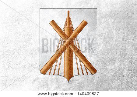Flag Of Babruysk, Belarus, Painted On Leather Texture