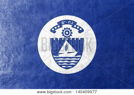 Flag Of Bat Yam, Israel, Painted On Leather Texture