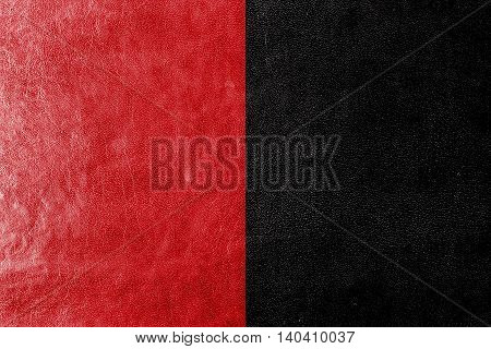 Flag Of Biarritz, France, Painted On Leather Texture